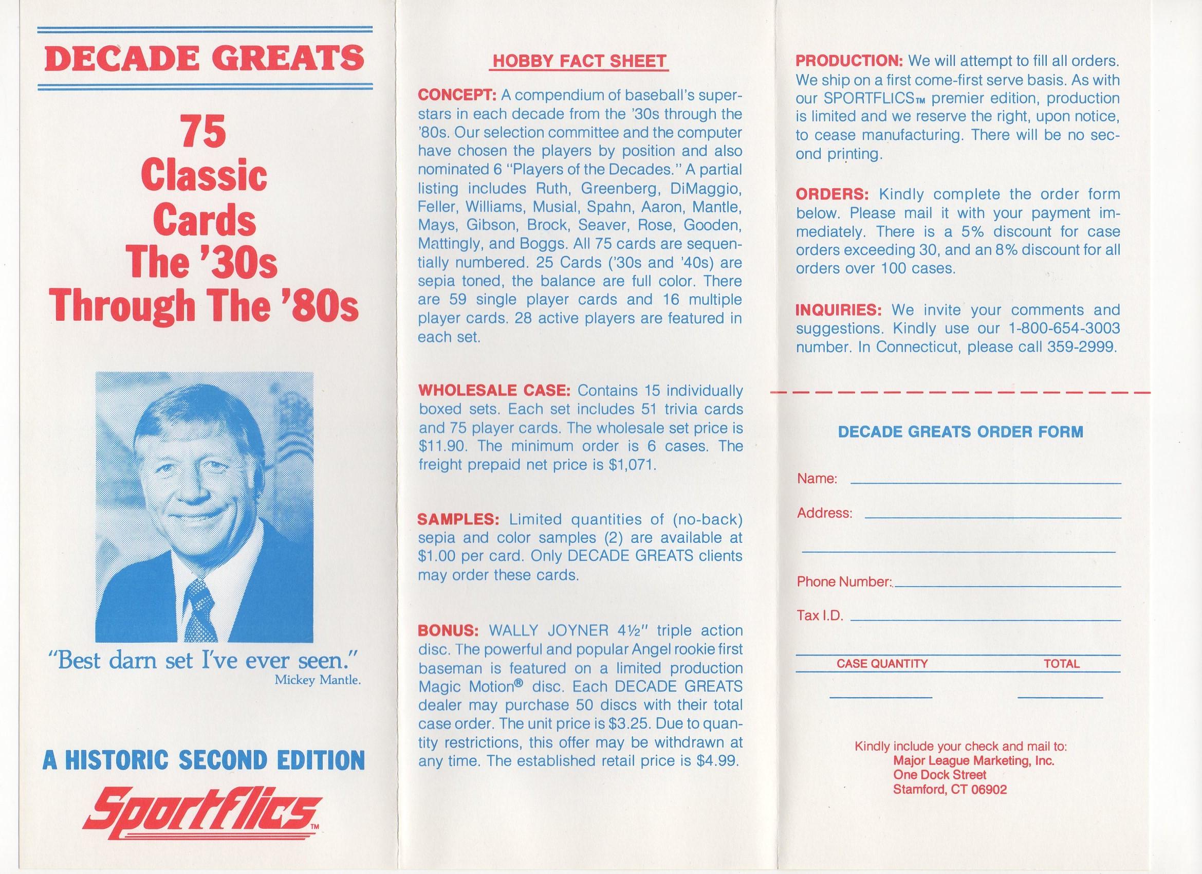 1986 sportflics, onesided letter insert