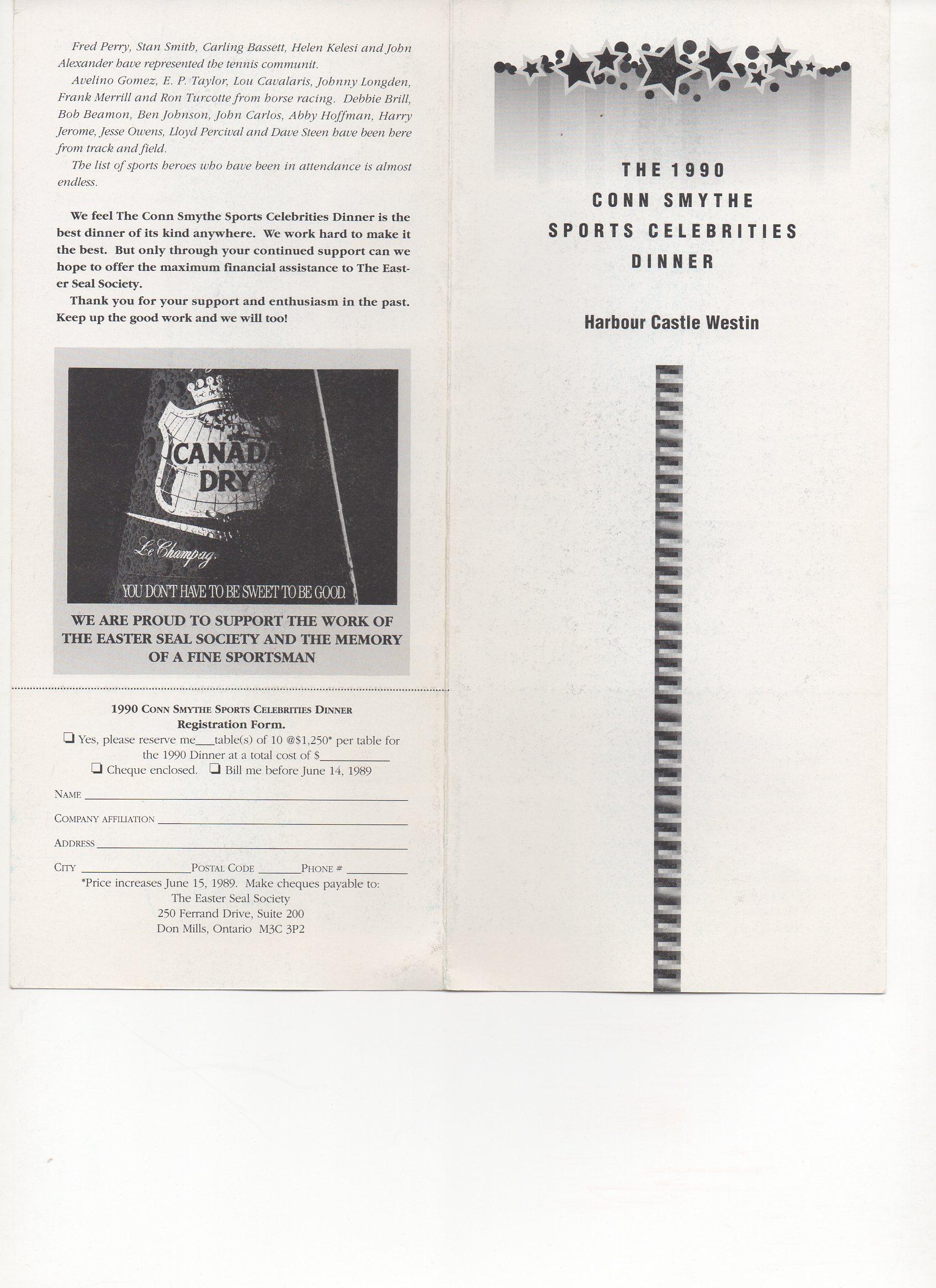 1990 conn smythe dinner, front and back