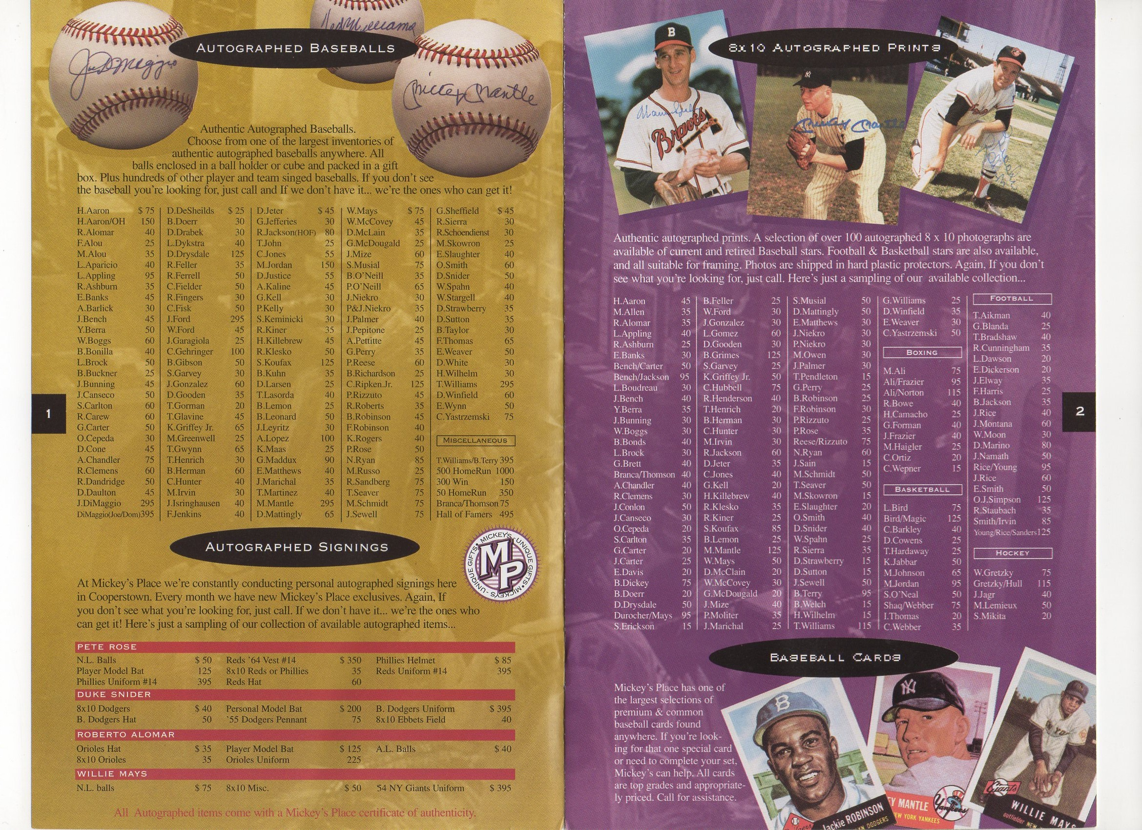 1996 mickey,s place cooperstown, n.y. booklet