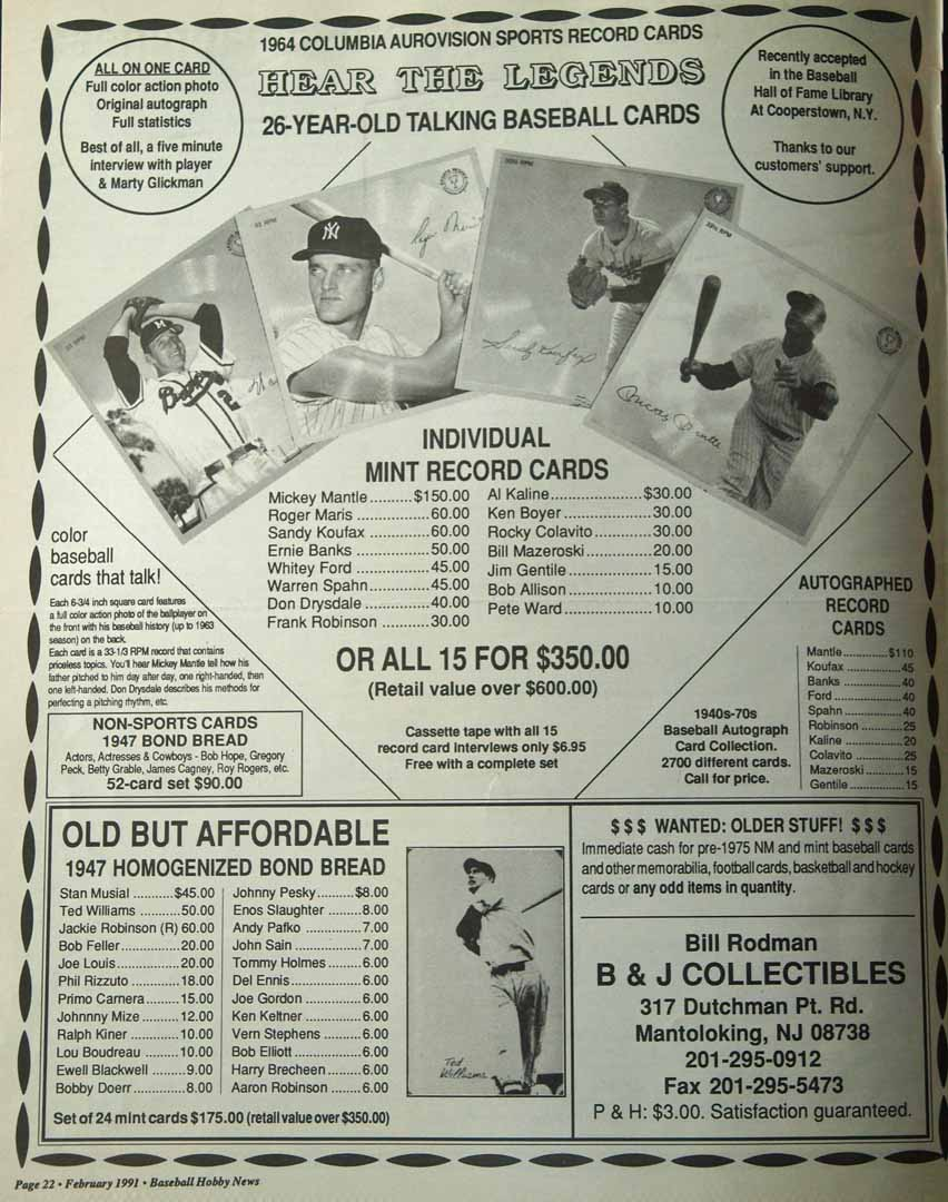1991 baseball hobby news feb.