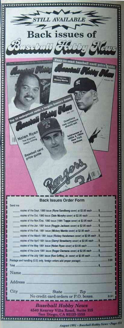 1991 baseball hobby news august