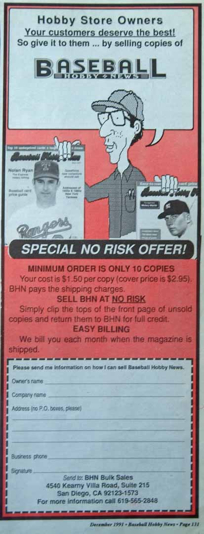 1991 baseball hobby news dec.