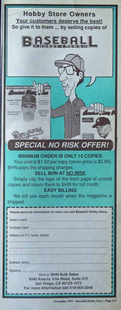 1991 baseball hobby news nov.