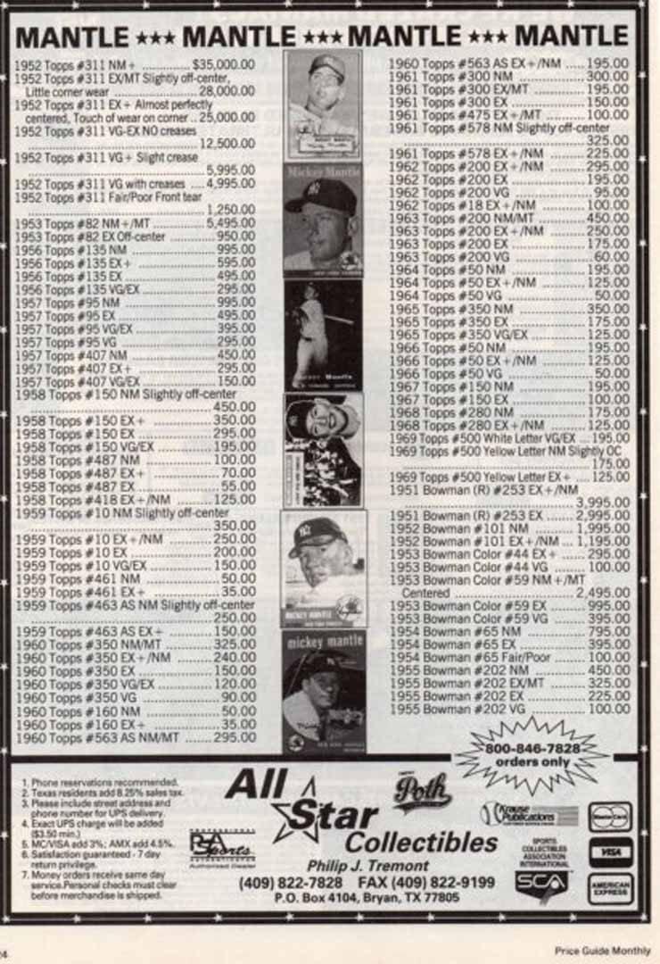 1992 price guide monthly march