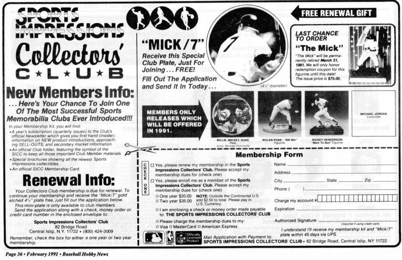 1991 baseball hobby news February