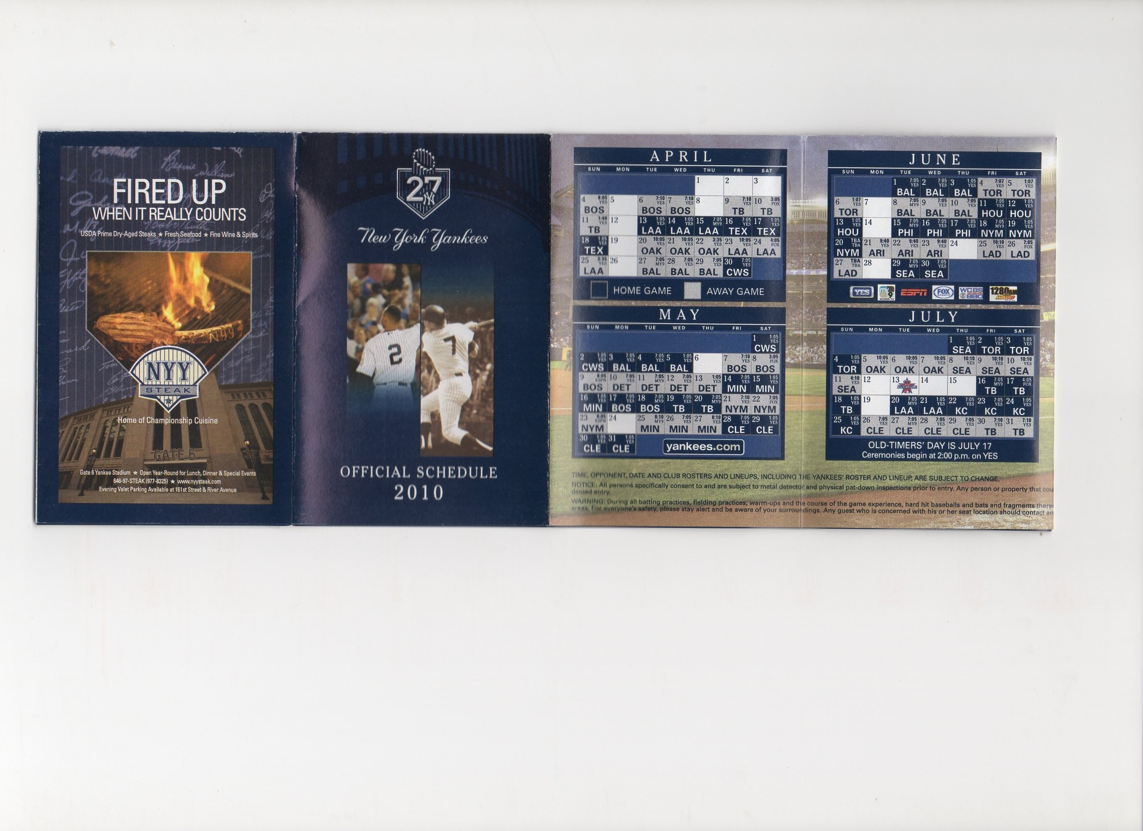 2010 NYY pocket foldout schedule
