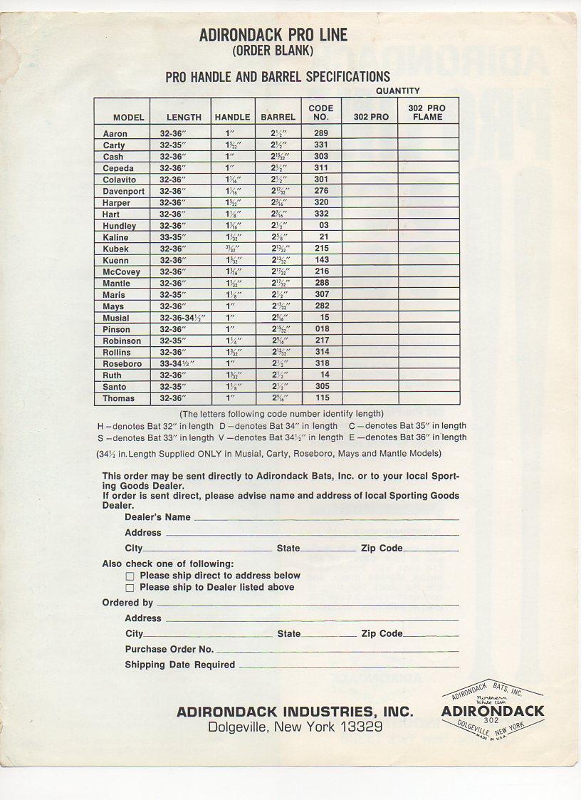 1968 adirondack insert