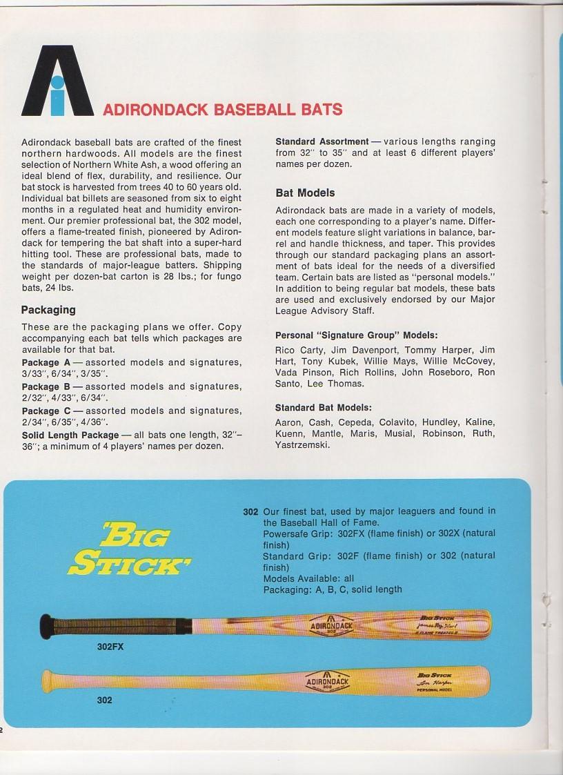 1969 adirondack bats 10 page book