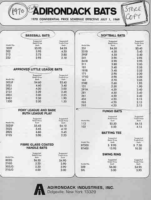 1970 adirondack price list