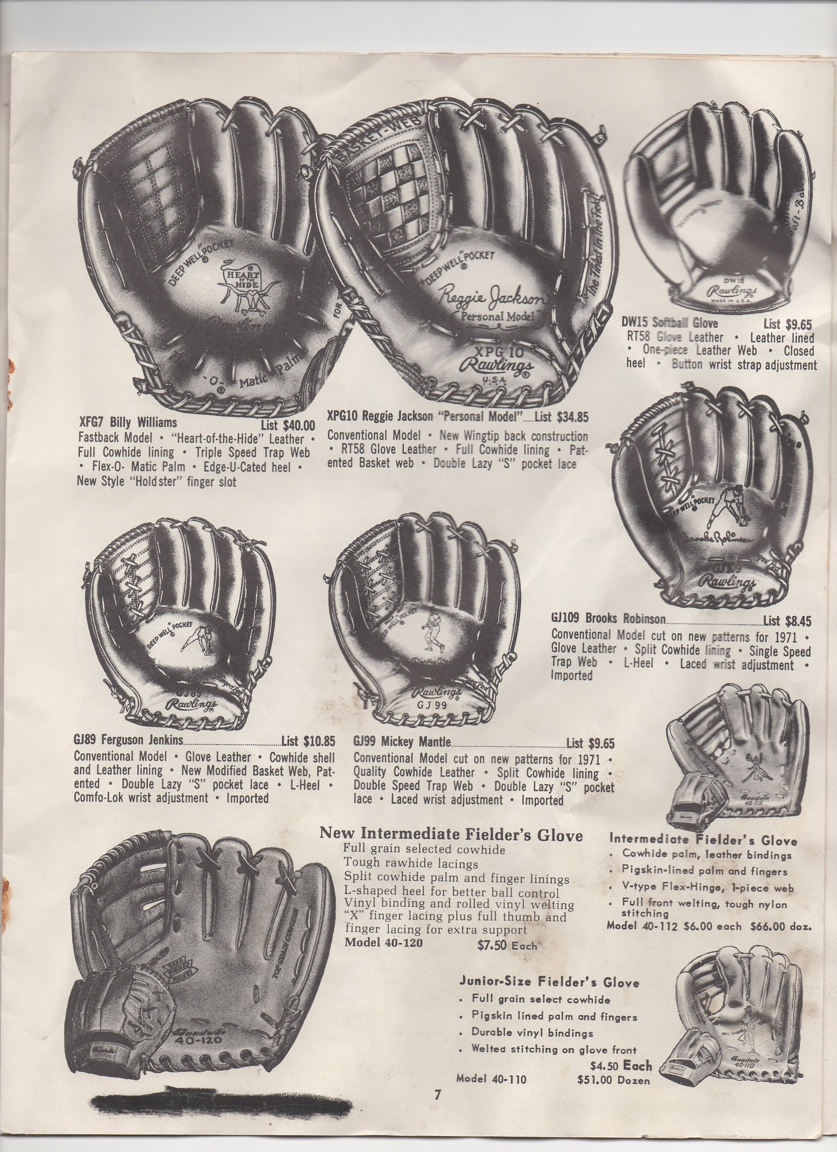 1971 markwort baseball and softball catalog