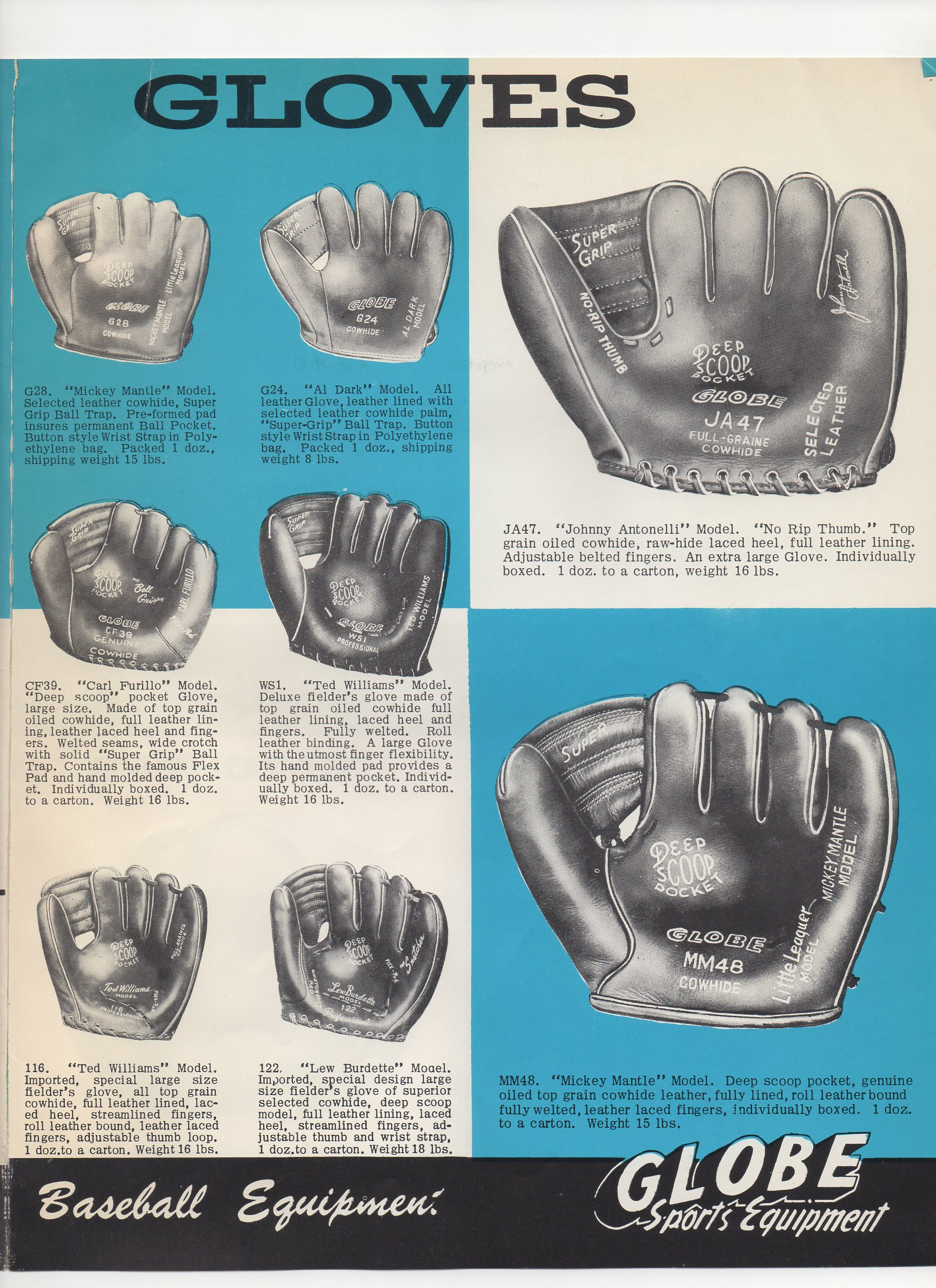 1958 globe sports equipment, spring and summer