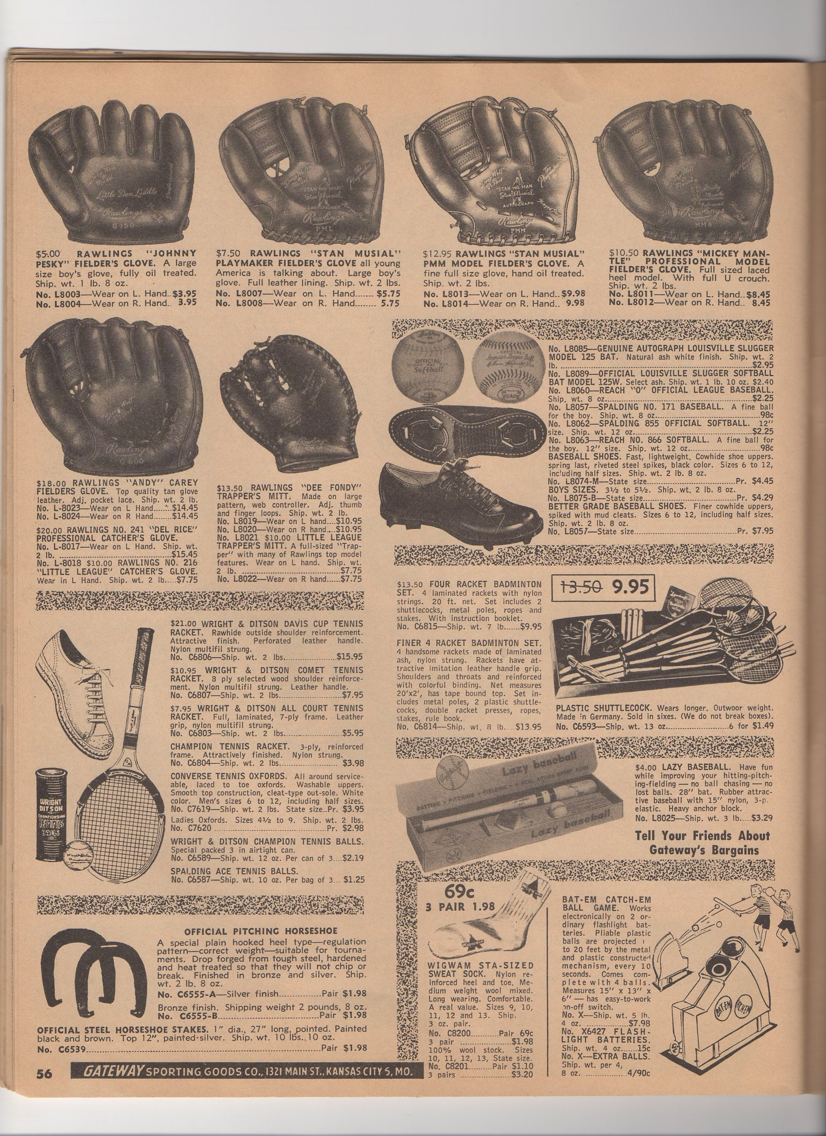 1957 gateway sporting goods catalog