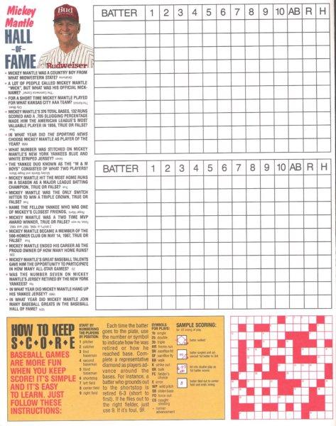 1987 playoff series score card