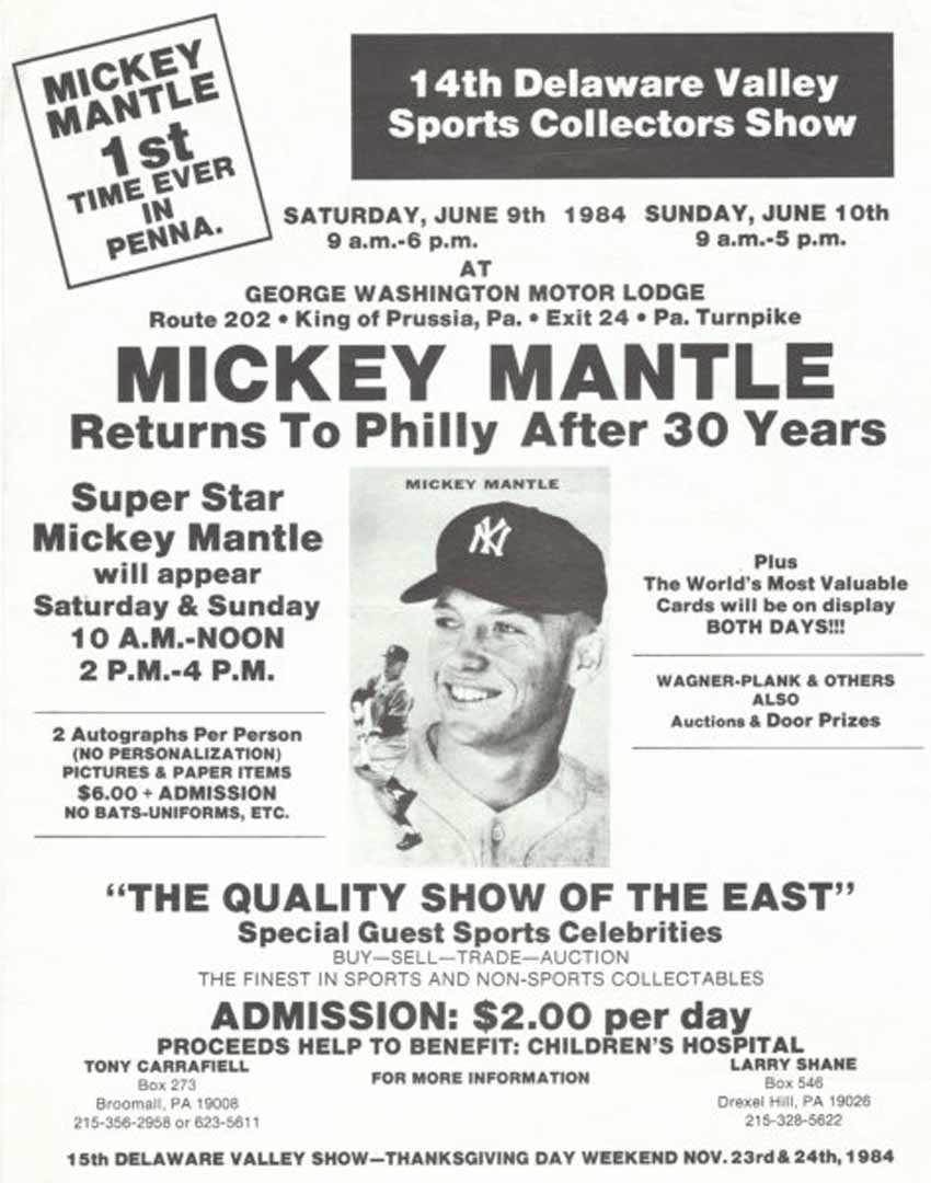 Baseball Show Ads Mickey Mantle Ads First Day Covers And Cachets