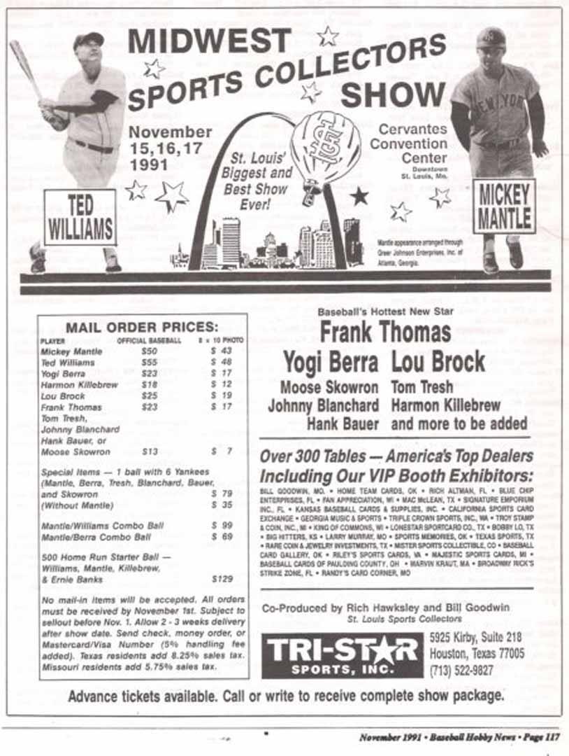 1991 baseball hobby news