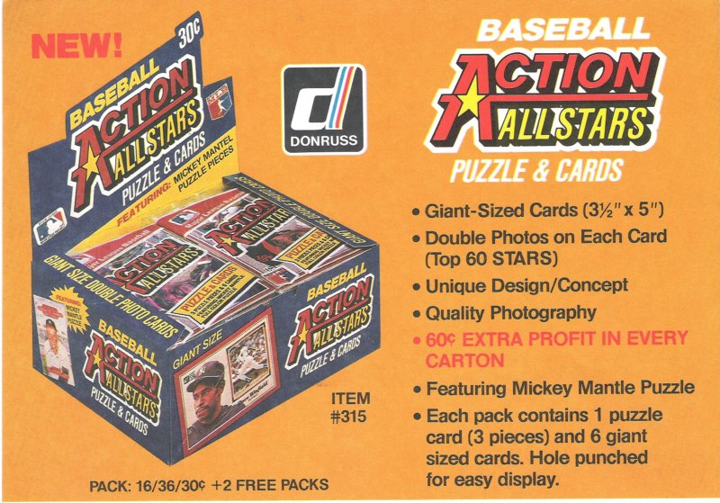 1983 donruss action allstars puzzles and cards