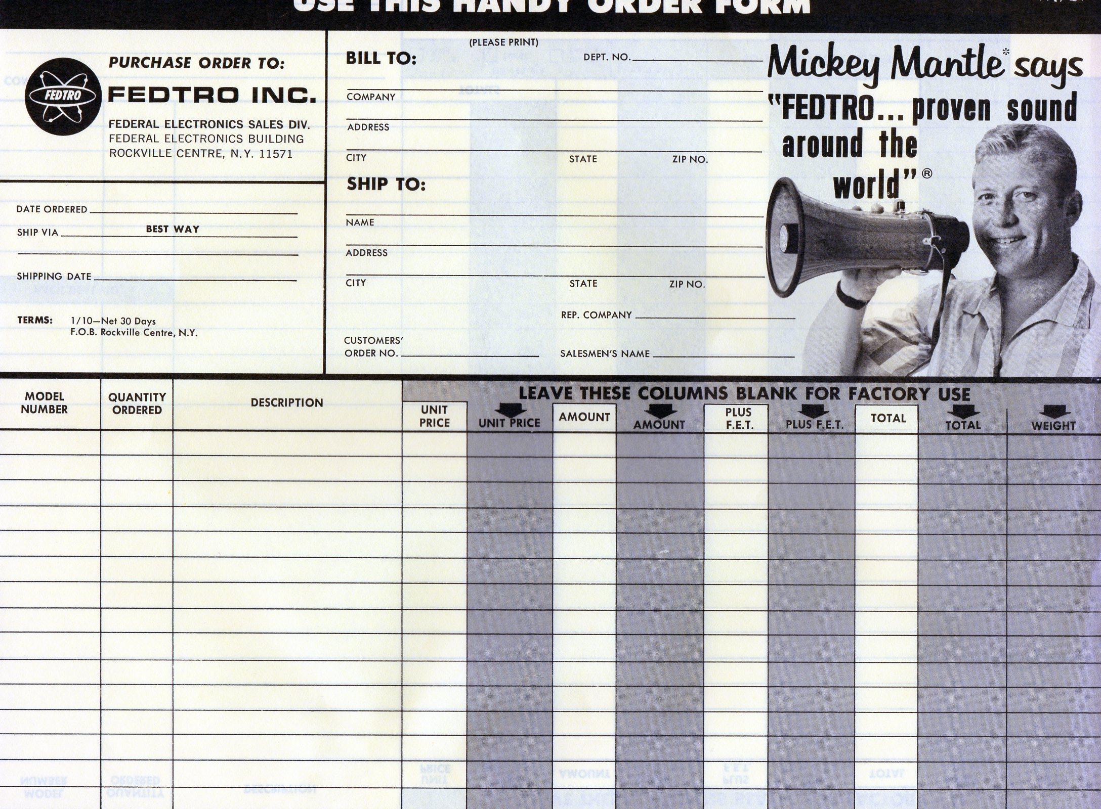 1960 era order form