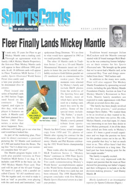 1998 fleer tradition MLB series