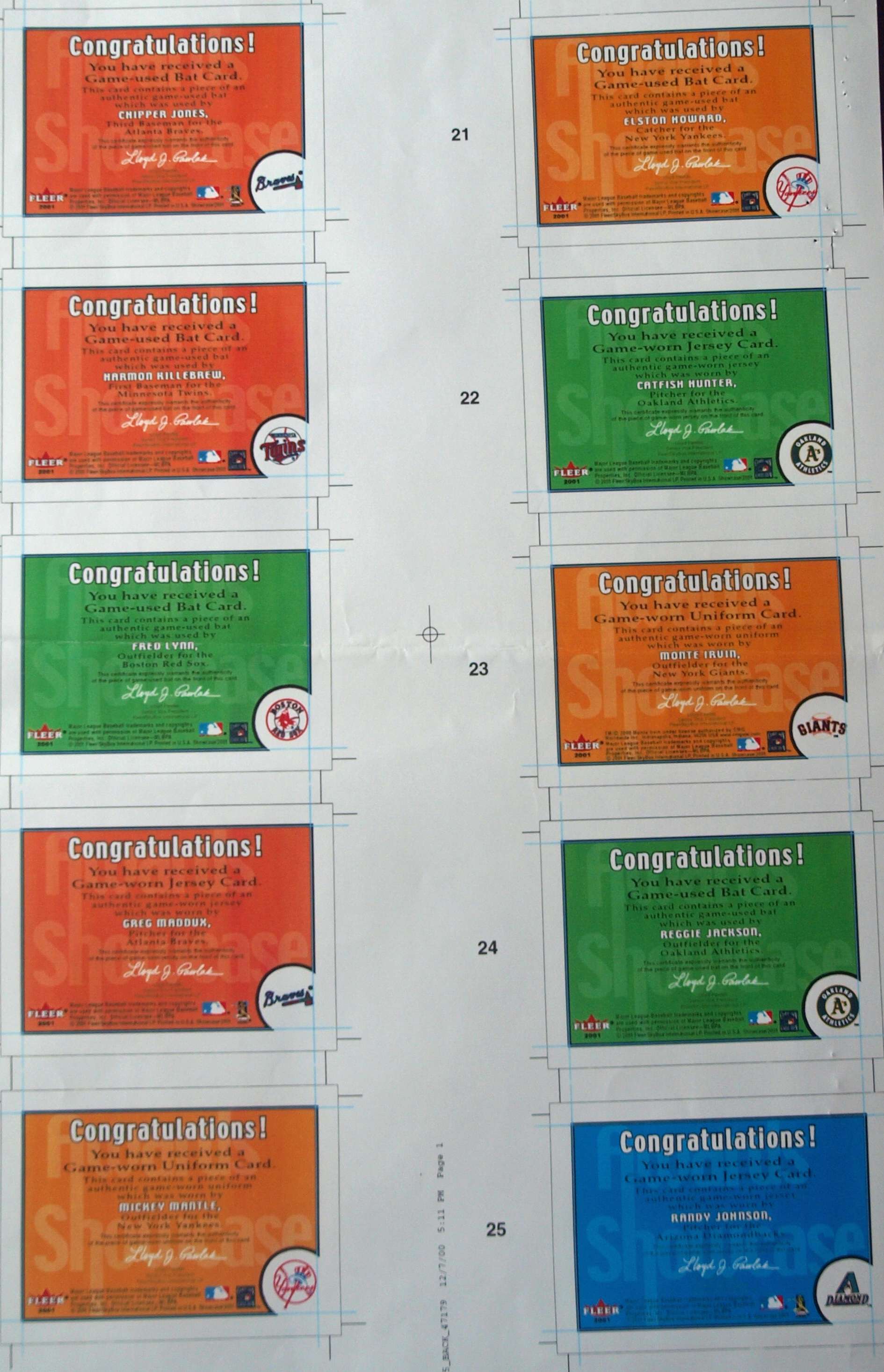 2000 fleer test card, never produced