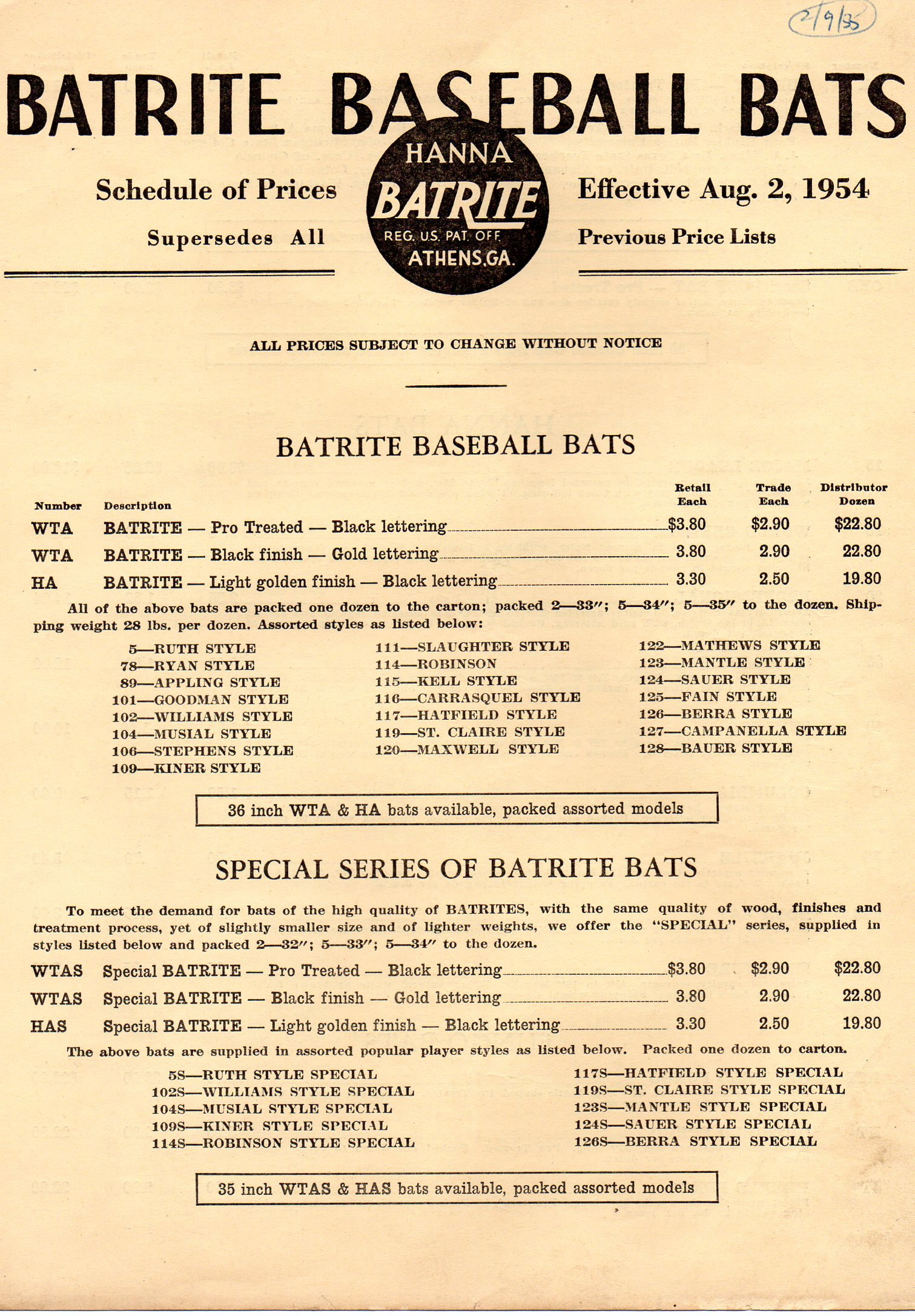 1954 price list