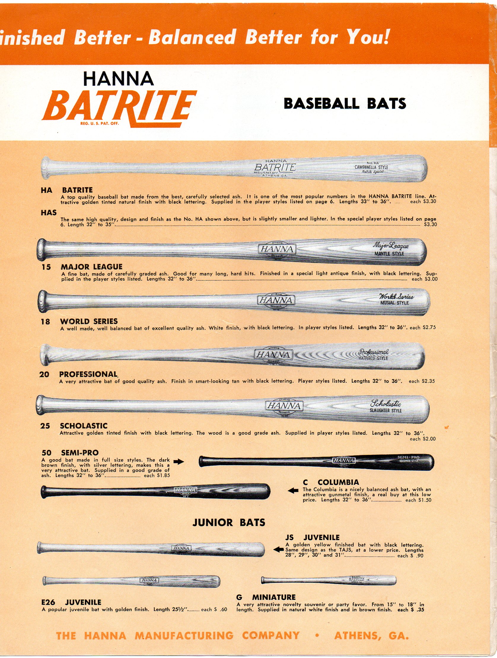 1955 hanna bat rite catalog