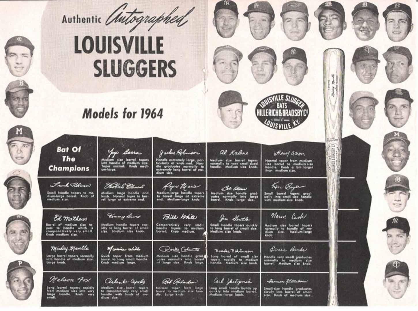 1964 H and B famous sluggers