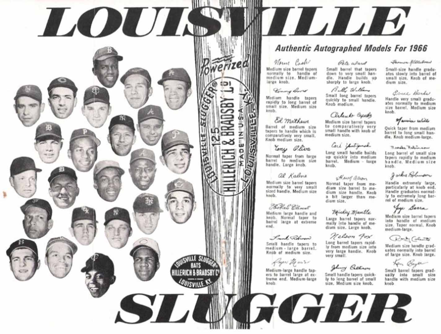 1966 h and b famous sluggers