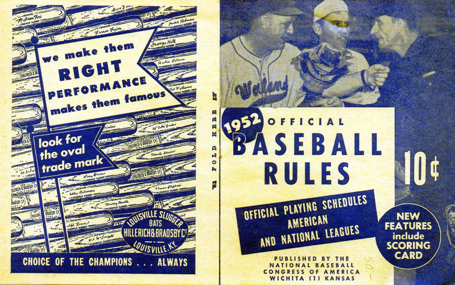 1952 official baseball rules nat bb congress wichita