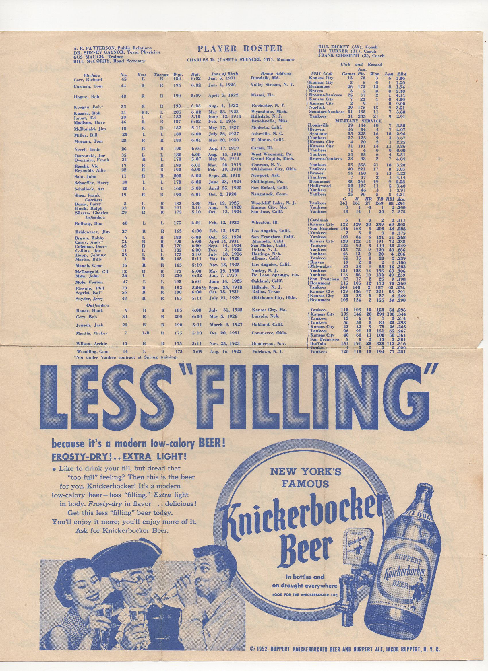 1952 ruppert knickerbocker beer