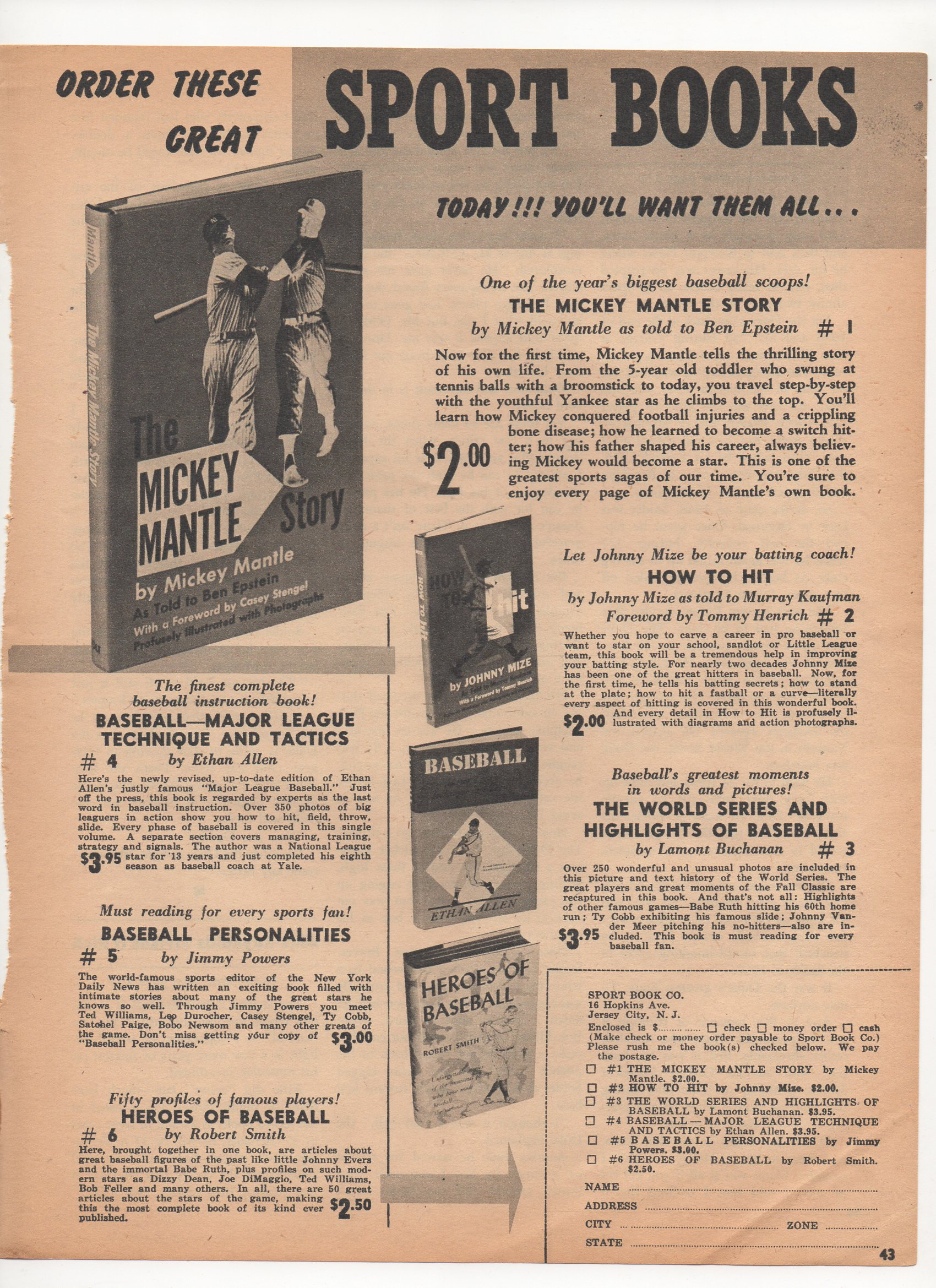 1954 inside baseball magazine feb, vol 2, no. 1