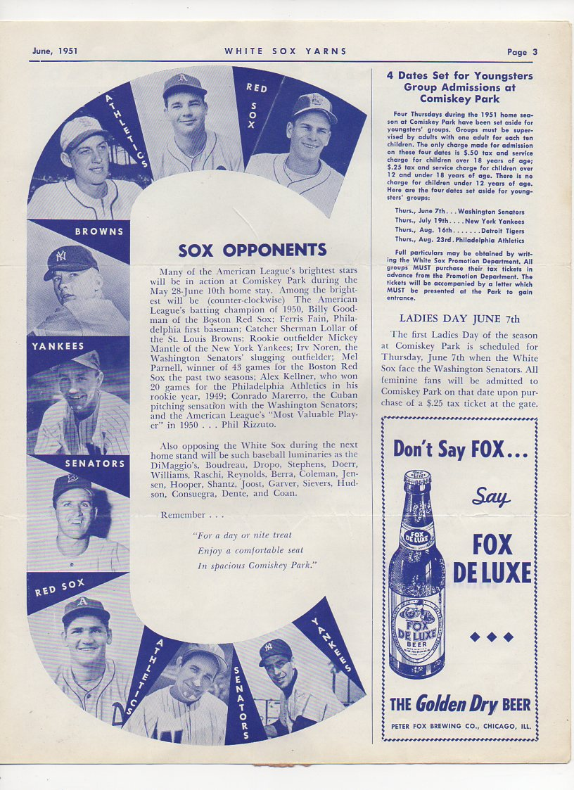 1951 june white sox yarns