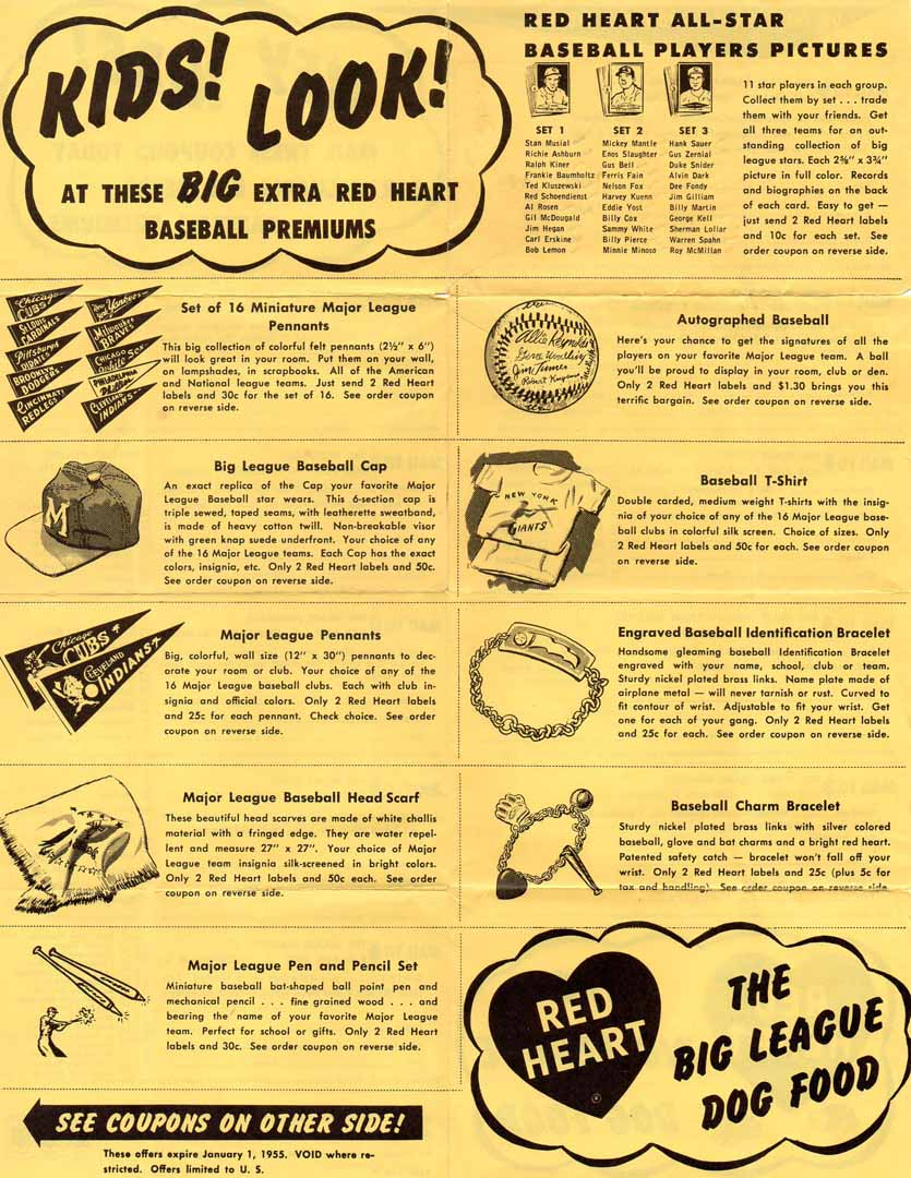 1955 red heart dog food flyer