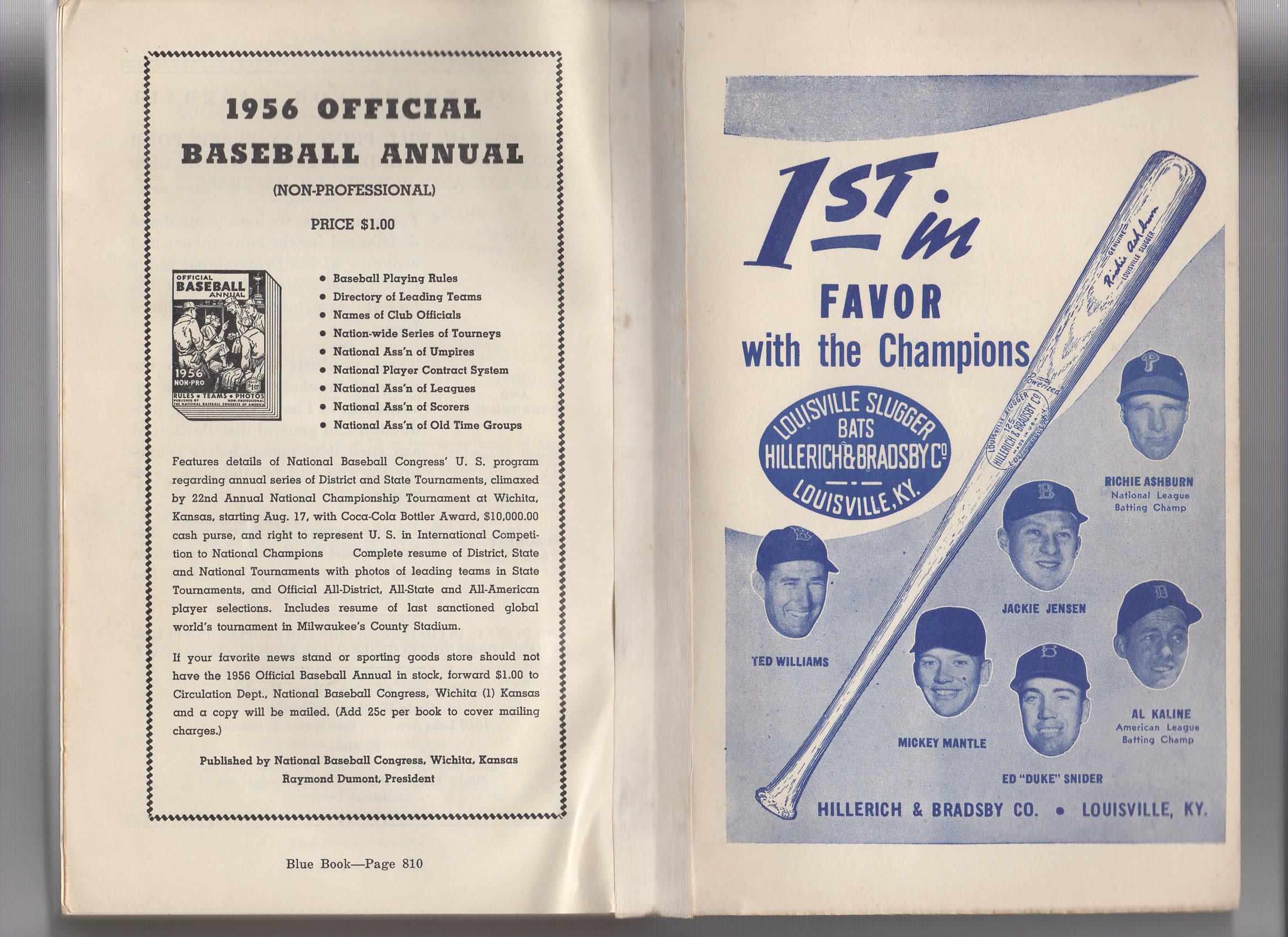 1956 the baseball blue book annual