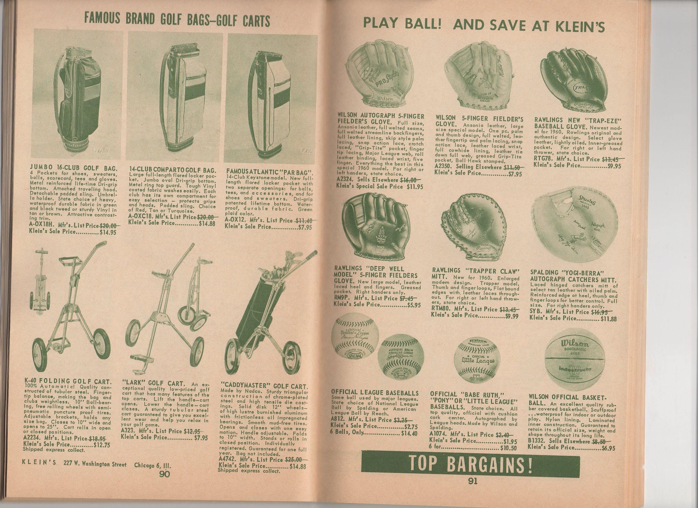 1960 klein,s 75th anniversary catalog, spring and summer, bargain catalog