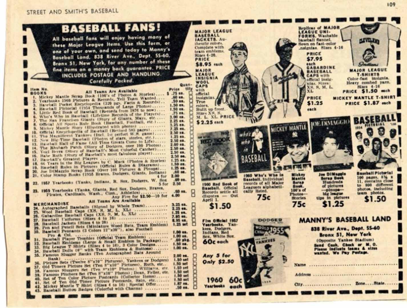 1960 era street smiths baseball