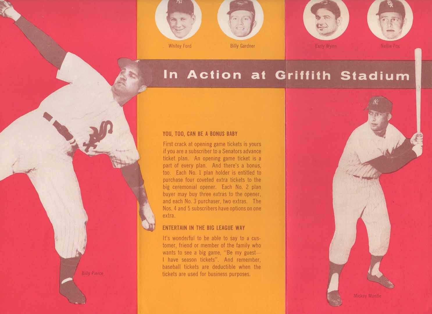 1958 washington senators ticket brochure