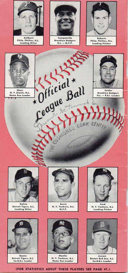 1956 baseball handbook and schedules