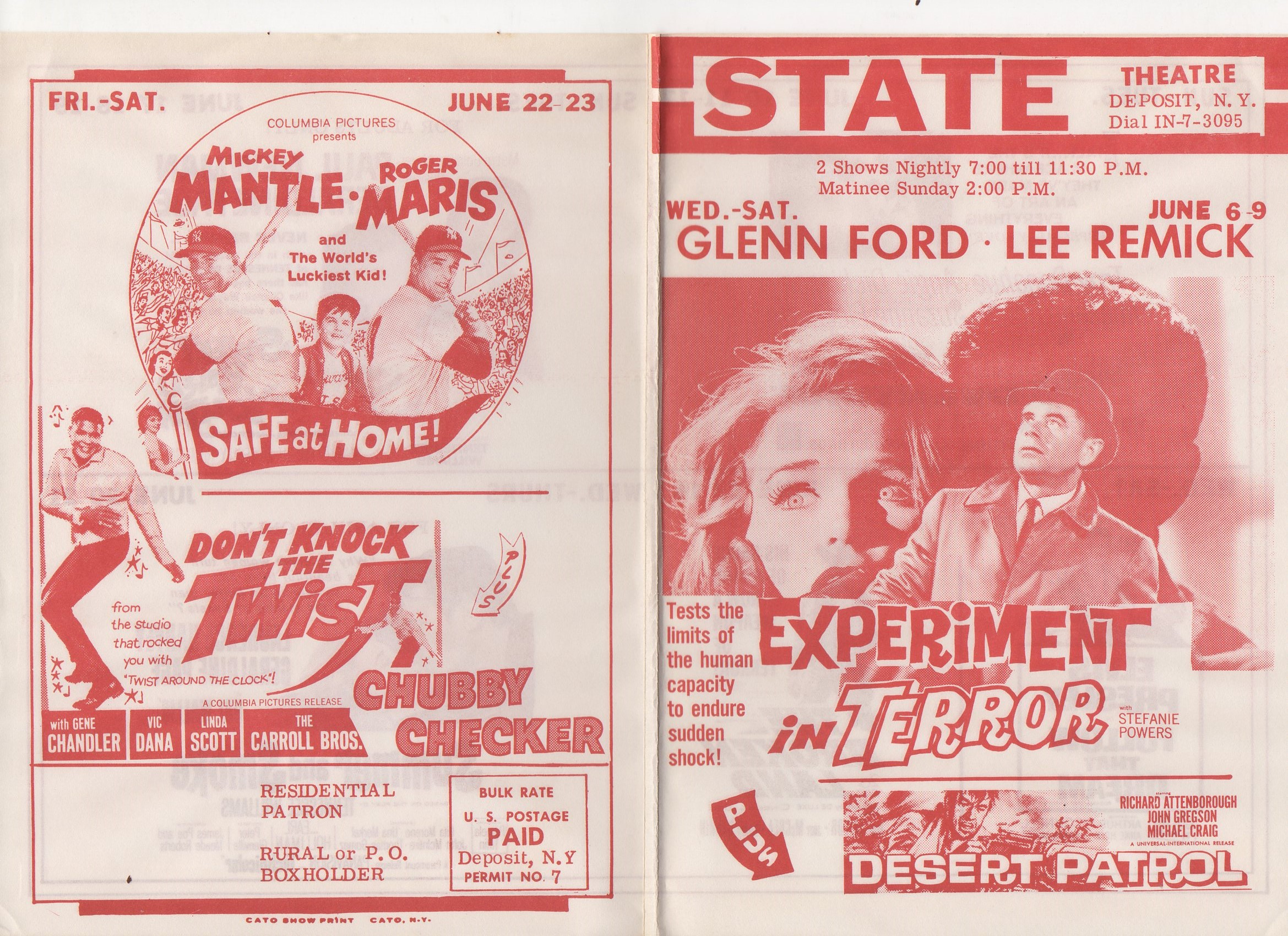 1962 state theatre, deposit, ny, 06/22-23, rare home mailer
