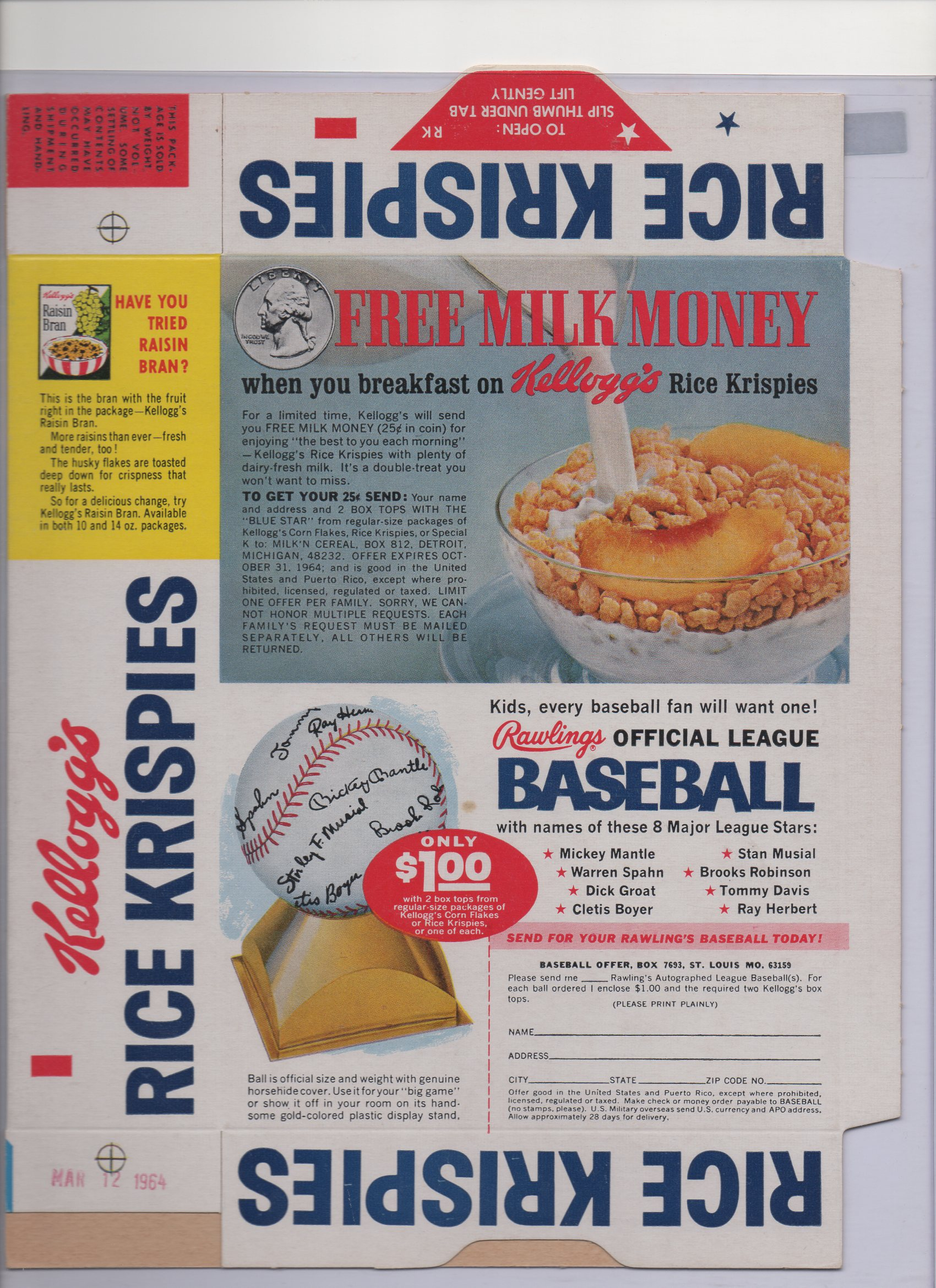 1963 kellogg,s , originally, box date 01/12/1964