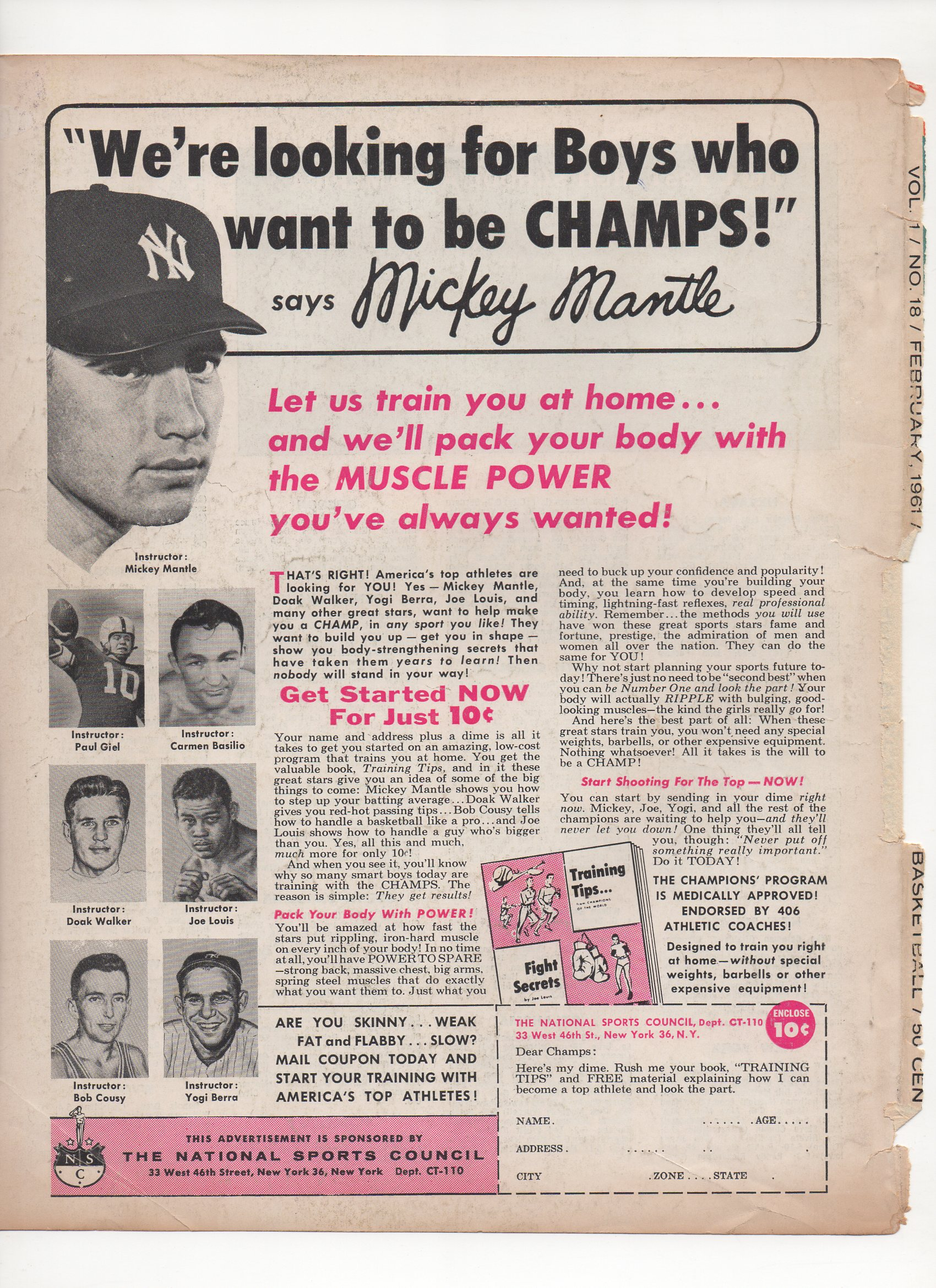 1961 dell basketball magazine, vol. 1, no. 18