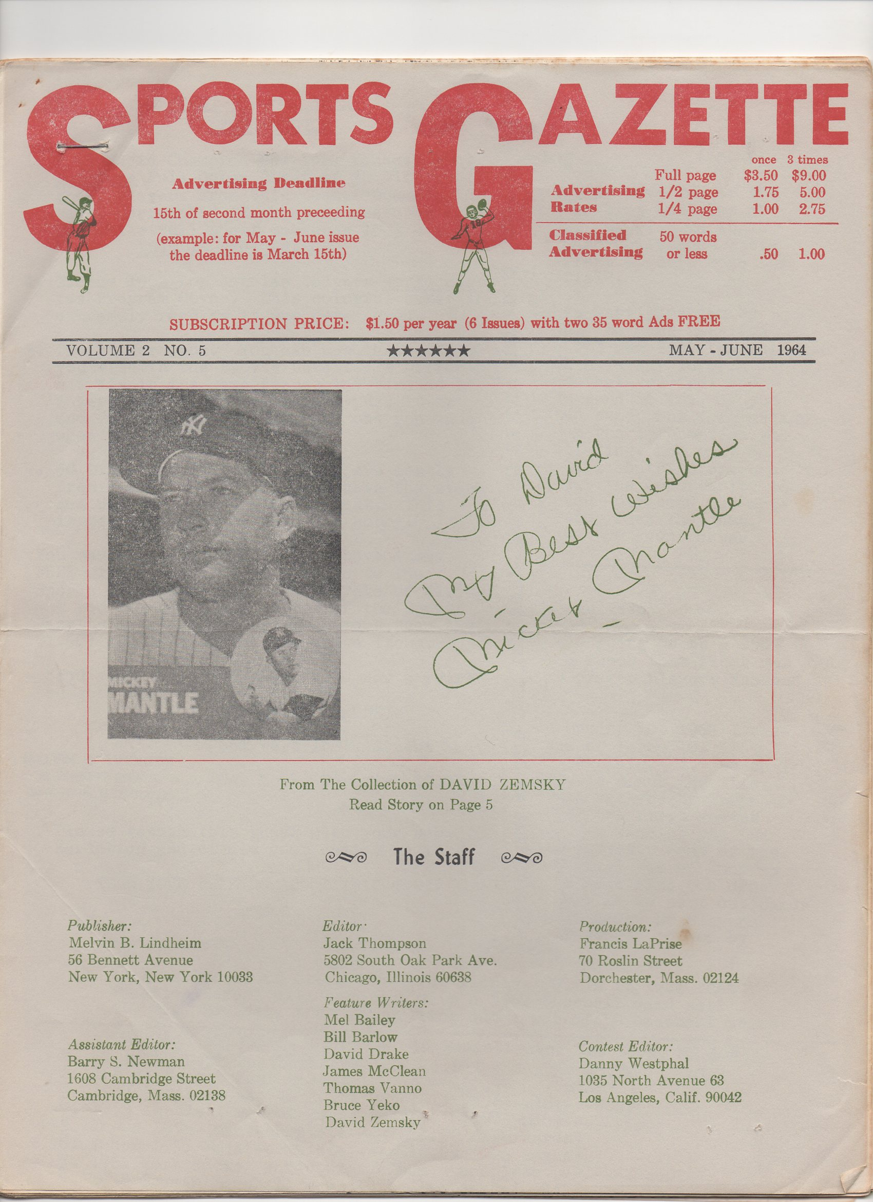 1964 sports gazette may-june, vol. 2, no. 5