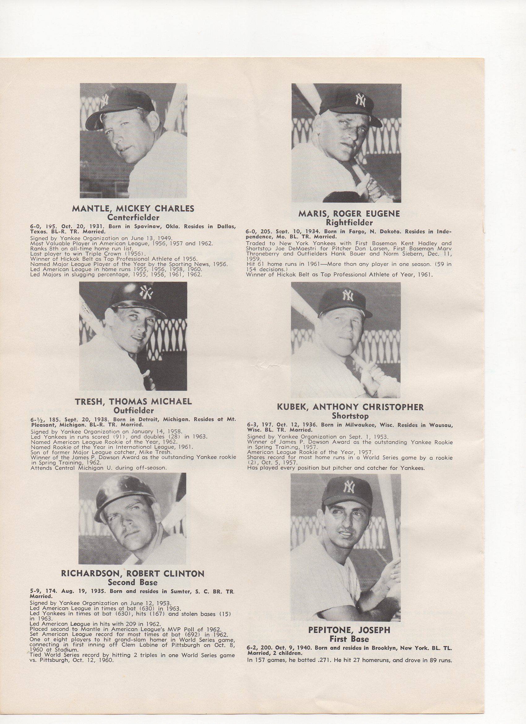 1964 yankees/denver bears souvenir program, monday 06/08/1964