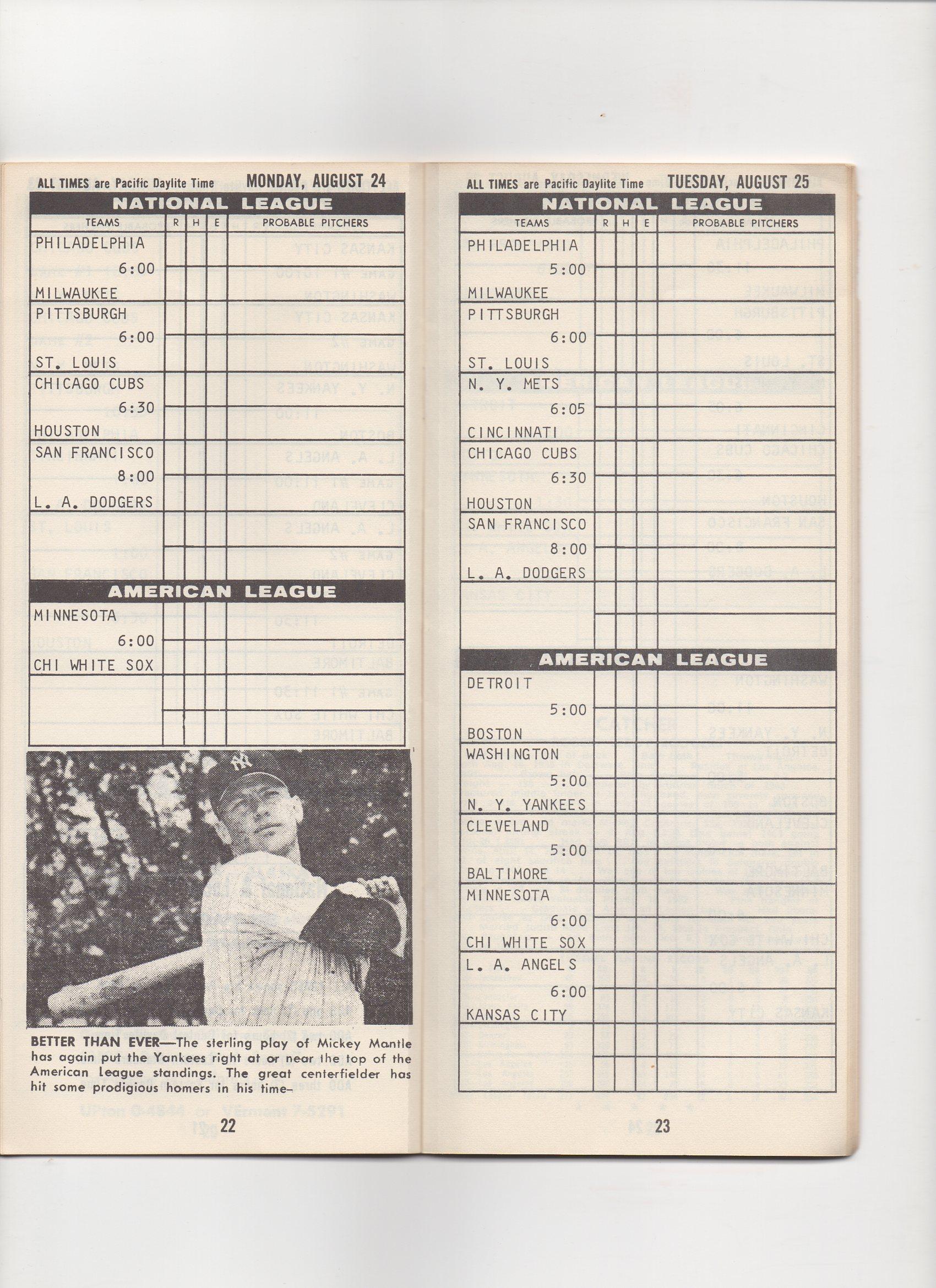 1964 baseball scoreboard booklet, 08/10-09/06