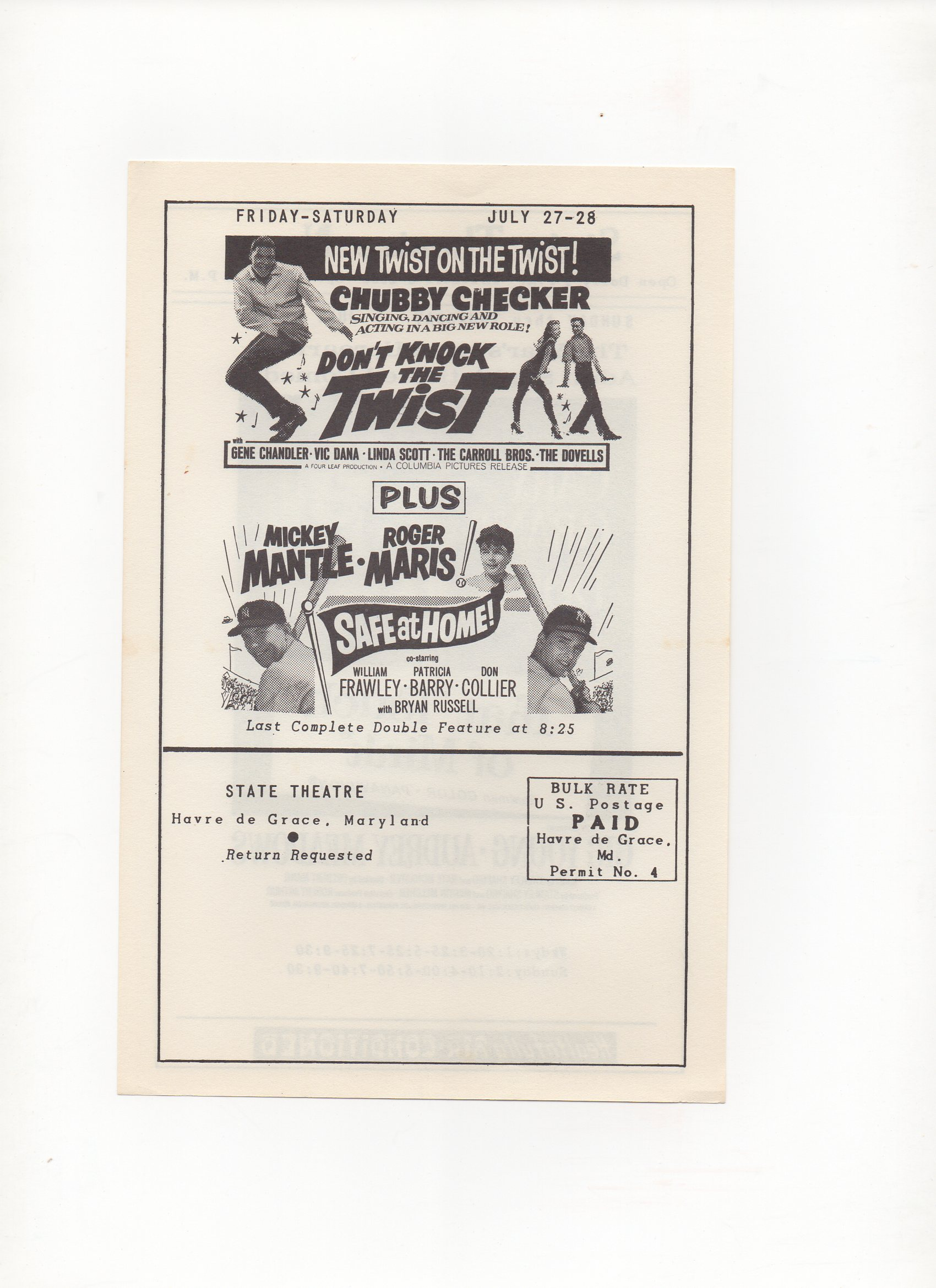 1962 state theatre, havre de grace, maryland, small mailer