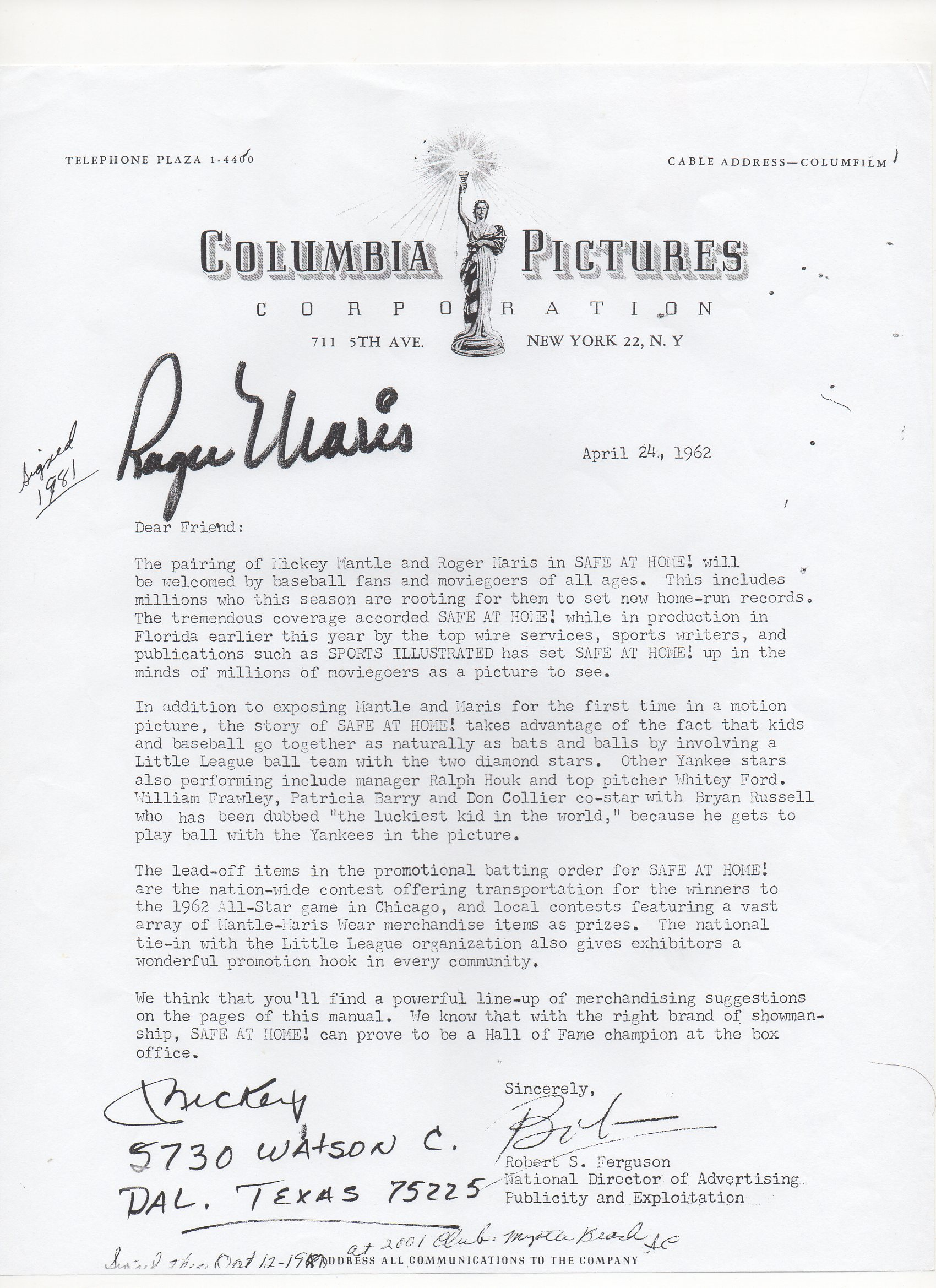 1962 columbia pictures letter, copy, org was signed as you see, 04/24/1962