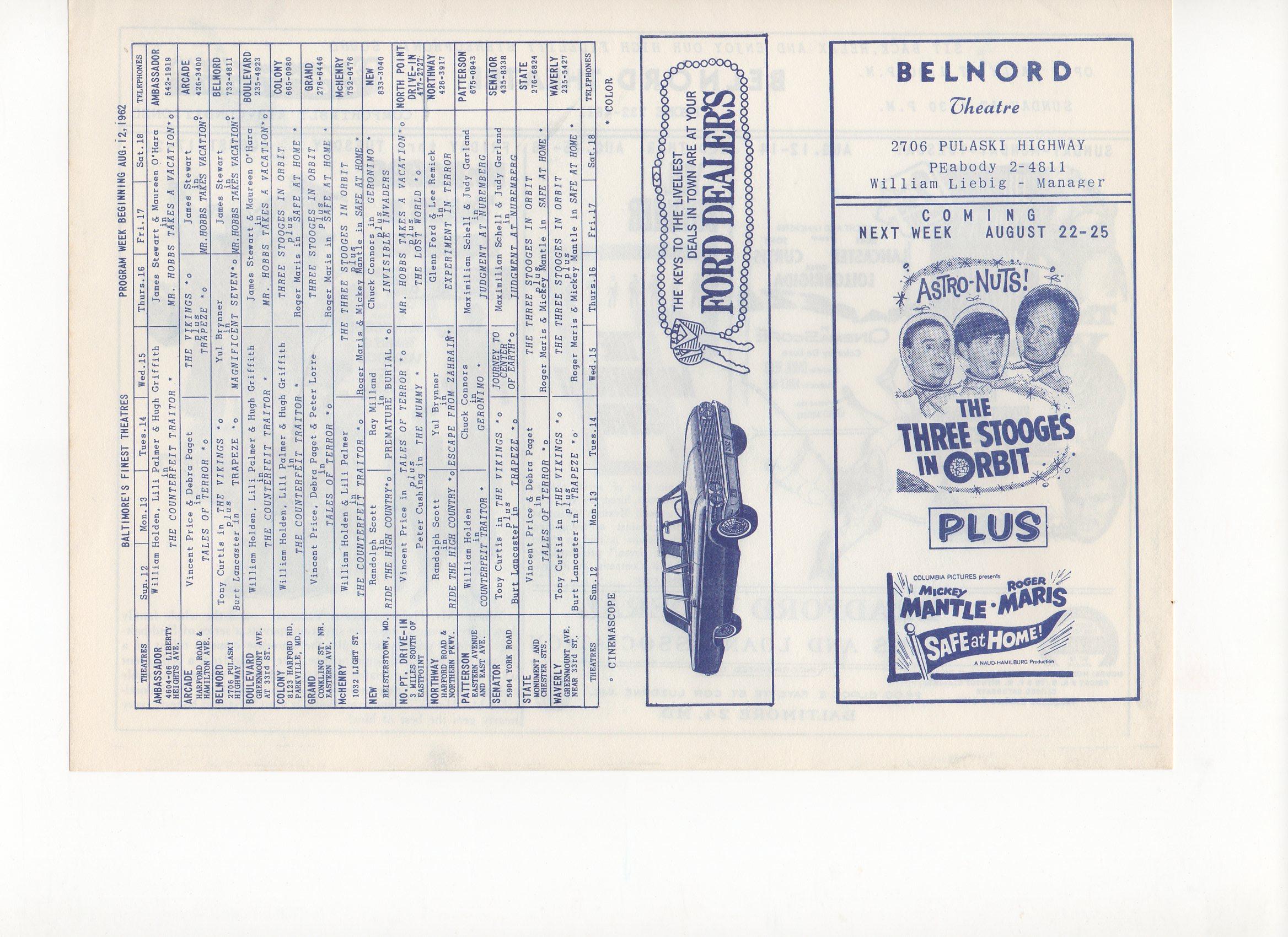 1962, belnord theatre, baltimore, md., 08/22/1962