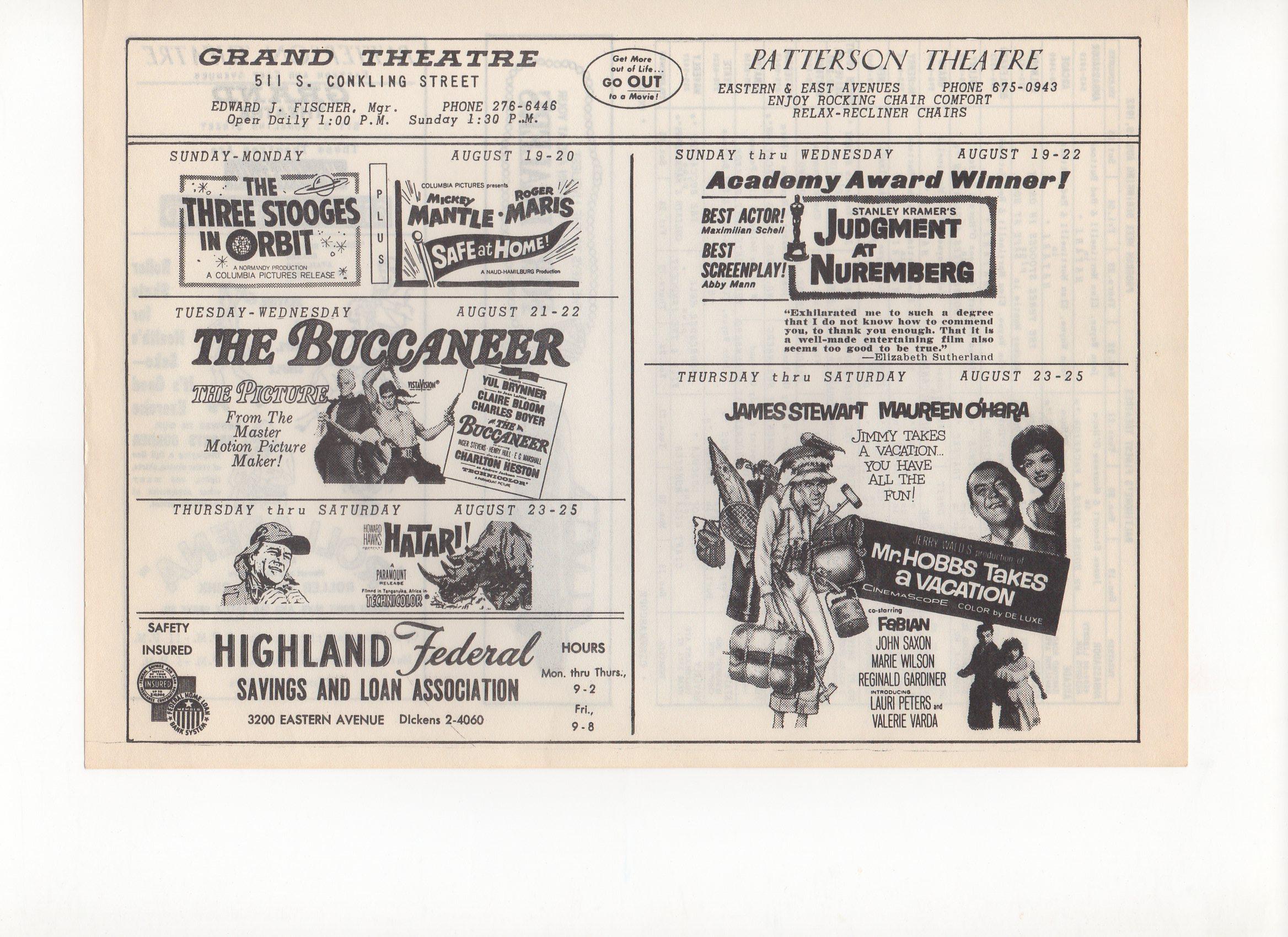 1962, grand theatre, baltimore, md., 08/19/1962