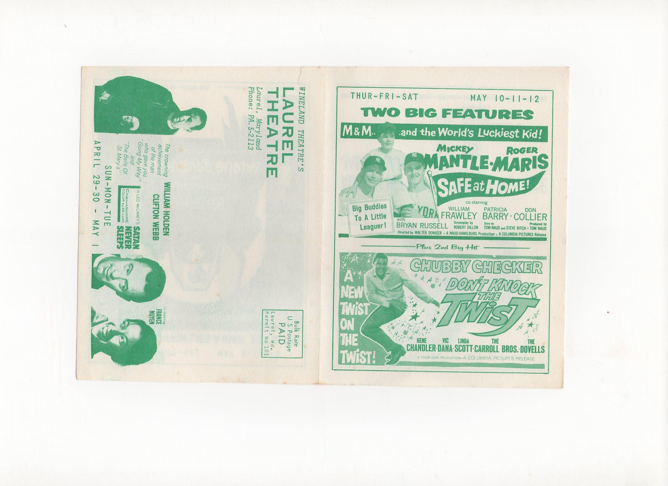 1962, laurel theatre, laurel, MD. 05/10-11/1962