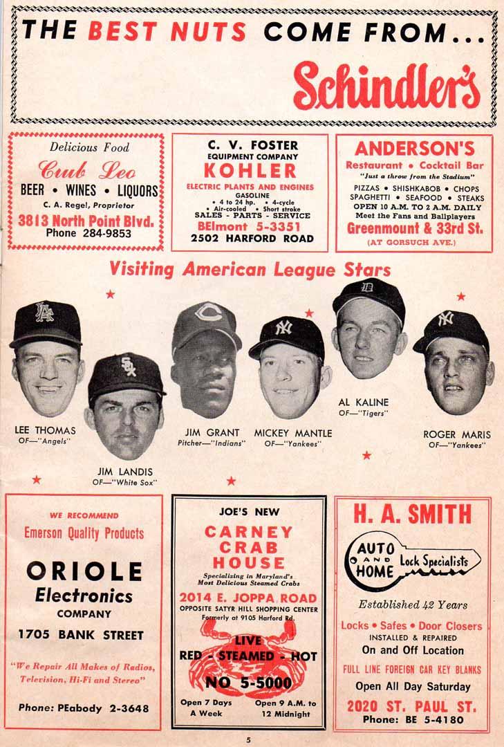 1962 orioles score card