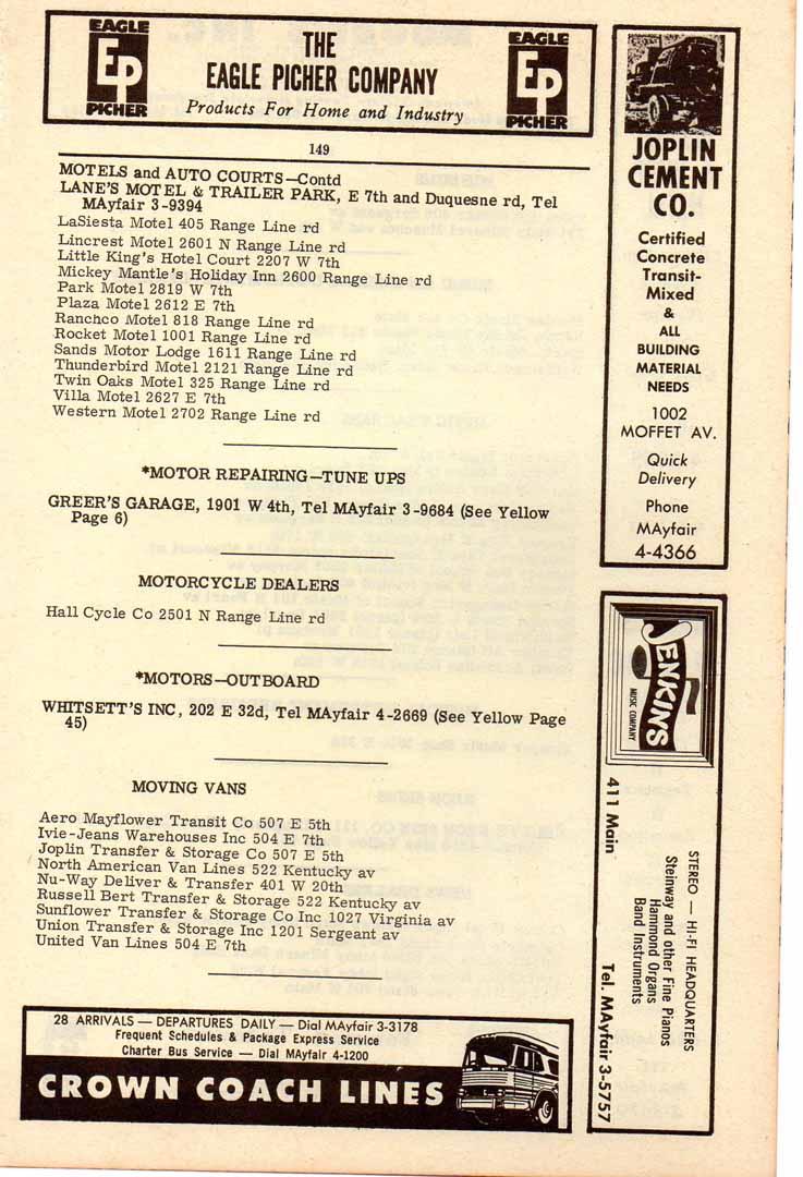 1961 joplin mo phone book